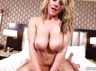 mature blonde MomPov busty naturals hot blonde MILF titty fucks cock POV