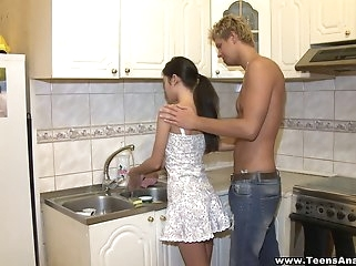 big tits anal Assfucked in a kitchen