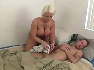 cumshot blonde step mom jerking off NOT her son