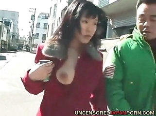 asian amateur Uncensored Japanese Porn MILF sucking cock in public places