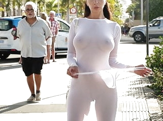 nipples brunette Transparent dress in public