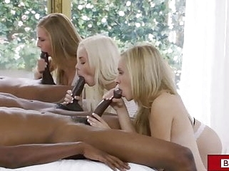 blowjob blonde BBC orgy for three sluts