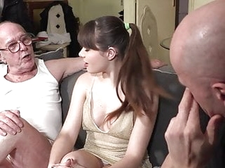 brunette blowjob Grandpa watches granddaughter fucking