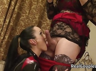 femdom top rated Kinky wife in PVC with crossdressing husband