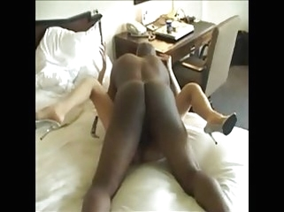 black and ebony amateur Collared white whore servicing her Black master