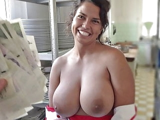 brunette blowjob Cook with HUGE Tits